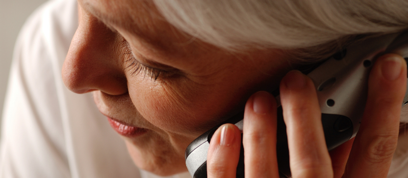 Close up of woman on telephone